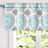 DriftAway Bella Medallion Pattern Room Darkening Rod Pocket Window Curtain Valance 52 Inch by 18 Inch Aqua and Gray