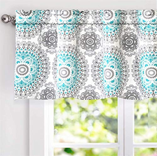 DriftAway Bella Medallion Pattern Room Darkening Window Curtain Valance, 52x18, Aqua/Gray, Rod Pocket