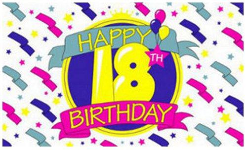 Happy 18th Birthday Flag 5ft x 3ft Flag