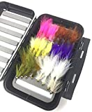 Fly Fishing Assortment - Bead Head Wooly Bugger - 24 Flies with Large Waterproof Fly Box for Trout and Other Freshwater Fish - 5 Color Variety of Yellow, White, Brown, Olive, Purple,Pink Plus Flash