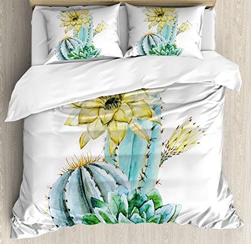 Ambesonne Succulent Duvet Cover Set Queen Size, Watercolor Style Cactus Composition Exotic Climate Flora Art, Decorative 3 Piece Bedding Set with 2 Pillow Shams, Light Yellow Green Light Blue