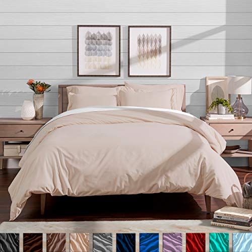 Bare Home Duvet Cover and Sham Set - Full/Queen - Premium 1800 Ultra-Soft Brushed Microfiber - Hypoallergenic, Easy Care, Wrinkle Resistant (Full/Queen, Sand)