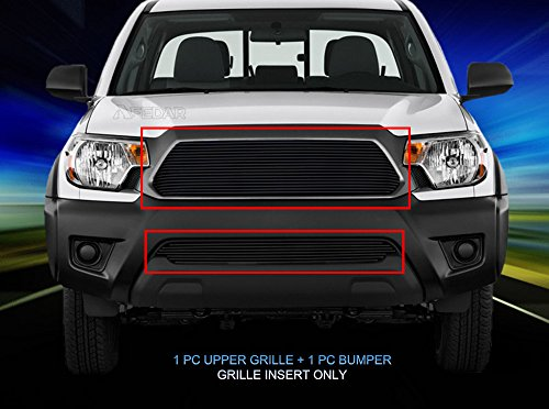 Fedar 12-15 Toyota Tacoma Replacement and Bolt Over Style Combo Billet Grille Grill 2-pc Set-Black ()