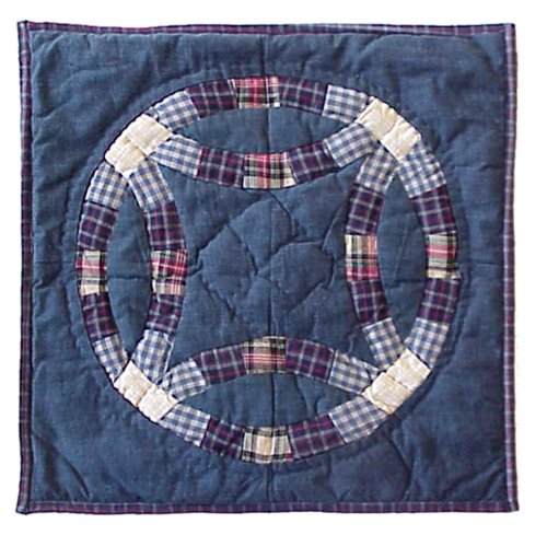 (Hand quilted Cotton Patchwork Toss Pillow Blue Double Wedding Ring from Patch Magic )