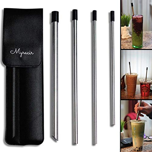 Elegant Straw - Myracir Reusable Stainless Steel Drinking Straws w/Elegant Vegan Leather Travel case | 4 straws + 4 Silicone Tips + 2 cleaning brushes | 1 wide boba straw w/pointed end | 2 long straws | 1 short straw