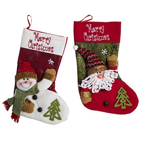 Christmas Stockings Decoration Christmas Stocking Applique Gift Bags Stockings and Holders 2 Pack 20¡¯¡¯ Santa and Snowman Party Decorations 3D Plush Hanging Christmas Stockings Seasonal Decoration