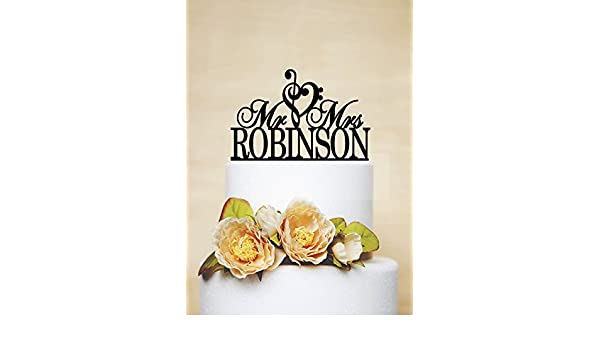 Mr And Mrs Wedding Cake Topper With Your Last Name Music Heart
