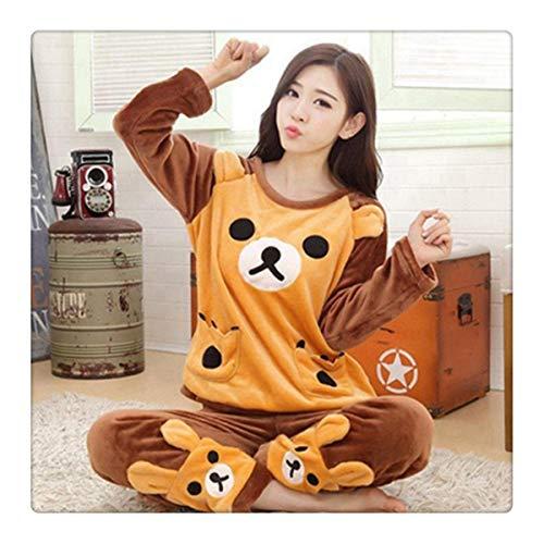Autumn Winter Women Pajamas Set Sleep Jacket Pant Sleepwear Warm Nightgown Female Cartoon Bear Animal Pants Sleepwear AA Yello Bear L