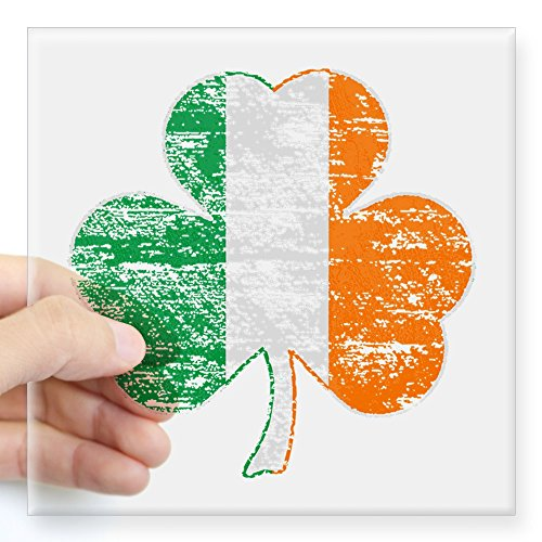 CafePress - Vintage Irish Flag Shamrock Sticker - Square Bumper Sticker Car Decal, 3