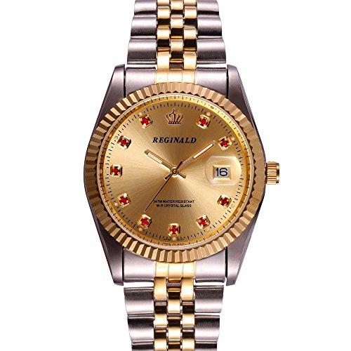 Fanmis Luxury Unisex Gold Crystal Quartz Calendar Gold Tone Stainless Steel Watch (Gold)