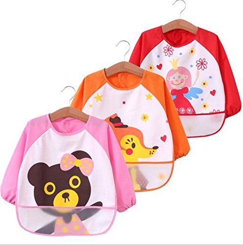 Waterproof Cute Cartoon Baby Feeding Bibs Apron for 6-36 months baby ,Set of 3, Baby Product 4G-Kitty