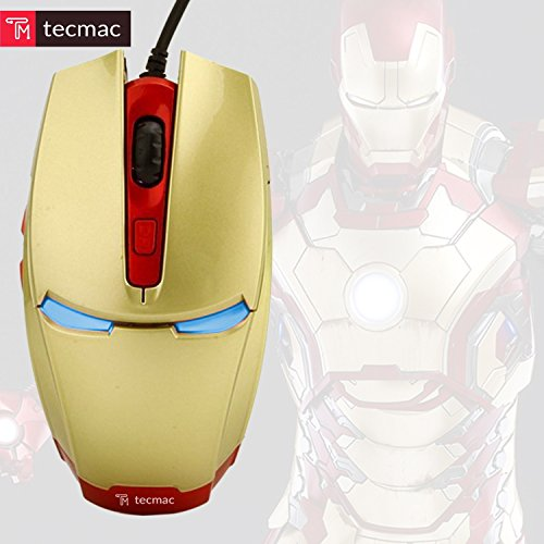 TecMac Iron Man Design USB Wired 3200 DPI 6D Gaming Automatic Change Color Mouse for PC/Laptop, 4 Adjustable DPI Levels with 6 Buttons (Gold) by tecmac (Image #3)