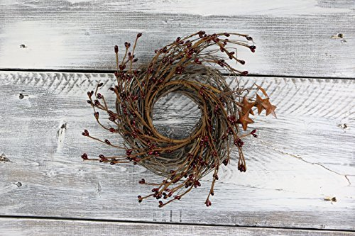Burgundy Pip Berry Garland (Pip Berry & Rusty Star Small Wreath/Candle Ring, 10