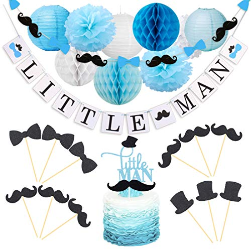 KREATWOW Little Man Baby Shower Decorations Little Man Cake Topper Mustache Hat Bow Tie Cupcake Toppers Garland for Birthday Party Decorations