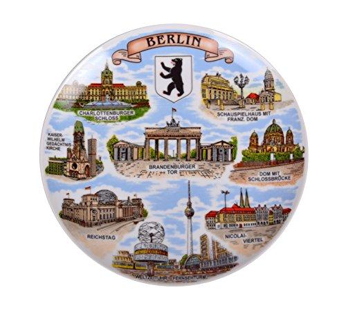 Berlin Souvenir Porcelain Plate with Berlin's Famous Sights Print Germany Emblem Motive