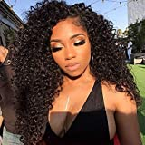 Curly Full Lace Wig Brazilian Human Hair Wig With Baby Hair Bleached Knots Full End 150% Density Glueless Full Lace Wigs Human Hair For Black Women Natural Color