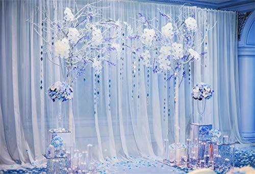 Yeele 6x4ft Photography Background Wedding Ceremony Decoration Blue Tone Curtain Arch Flowers Bouquet Marriage Celebration Elegant Invitation Party Decoration Photo Backdrop -