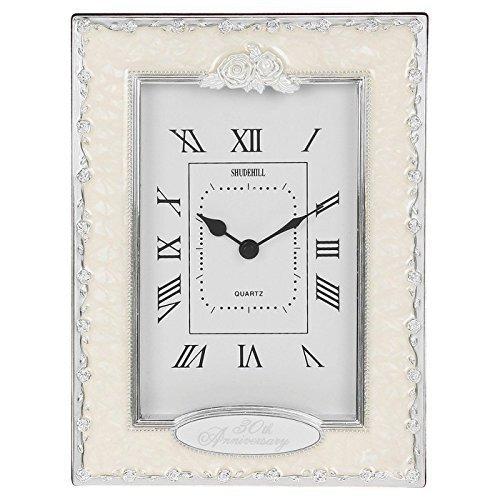 30th Pearl (30th Anniversary Pearl Wedding Celebration Quartz Table Clock by Shudehill Giftware)