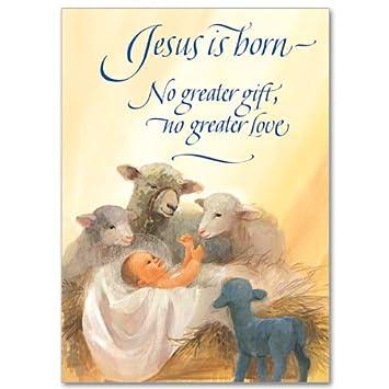 Amazon.com : Baby Jesus with Sheep and Lamb Miracle of Xmas Holy ...