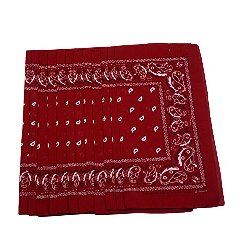 Paisley & Graphic Design Bandana Scarf 12-Pack, (Maroon- 100% Cotton)