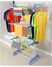 SKY TOUCH Carbon Steel Full Size Heavy Duty Double Pole 3 Layer Cloth Drying Stand, Laundry Rack Stand, Blue