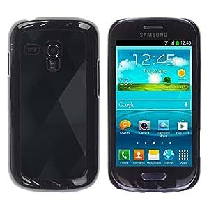 Be Good Phone Accessory // Dura Cáscara cubierta Protectora Caso Carcasa Funda de Protección para Samsung Galaxy S3 MINI NOT REGULAR! I8190 I8190N // Diamond Rhomb Pattern Black Grey