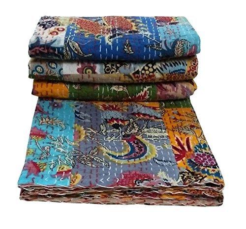 Ramdevcrafts Indian Handmade Twin Patch WorkCotton Kantha Quilt Vintage Throw Blanket Bedspread Gudari 90x60 Inch