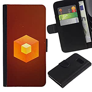 YiPhone /// Tirón de la caja Cartera de cuero con ranuras para tarjetas - Naranja Cube - Sony Xperia Z3 Compact