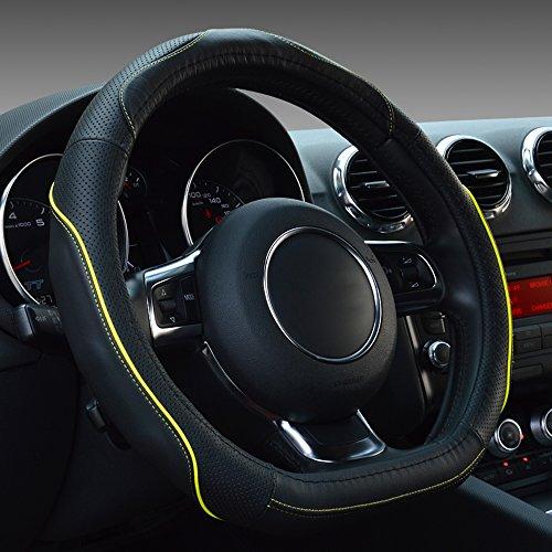 MKLOT Universal Fit Car Steering Wheel Cover - PU Leather Heavy Duty Thick Elegant Anti-Slip 37-39CM/15'' Sport Steering Wheel Covers - Black & Yellow