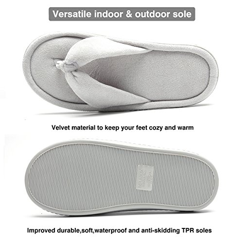 Memory foma Bottom Slippers Spa Grey Soft INFLATION Indoor Flops Slip Non amp;Outdoor flip Women qwvxwfUP