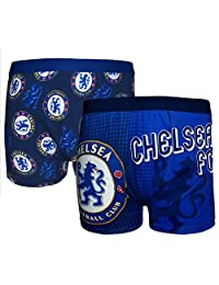 Chelsea FC Official Football Gift 2 PAIR Pk Mens Crest Boxer Shorts Large