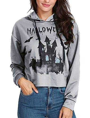 Womens Girls Halloween Outfit Creepy Castle Print Long Sleeved Drawstring Hoodie Size US 10-12/Tag XL (Grey) for $<!--$15.99-->