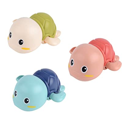 2Krmstr 3 Pcs Baby Bath Toys, Swimming Wind Up Turtle Fun Bath Toys, Baby Bathtub Floating Water Bathing Pool Fun Toys: Toys & Games