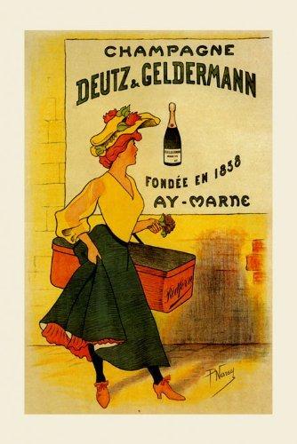 CANVAS Champagne Deutz & Geldermann 1838 Fashion Lady with Flowers Restaurant Art 20