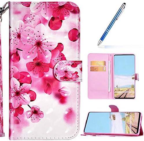 URFEDA Cover Compatibel met LG G8 ThinQ Telefoon Case PU Leer Sparkle Glitter Wallet Case met Kaartsleuven Case Cover Folio Magnetische Beschermhoes Bookstyle Kickstand Krasbestendig Case Rode Bloem