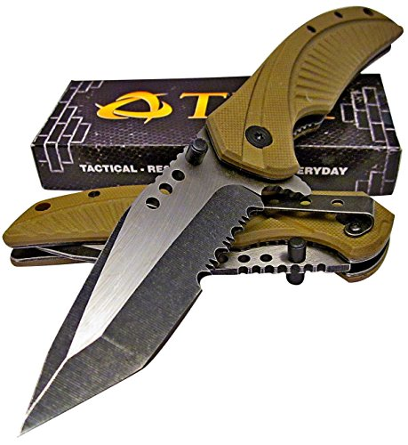 TEK Tactical Edge Spring Assisted Opening Folding Pocket Knife: Desert Tan G10 Handles - Modified Tanto Blade - Razor Sharp - Brand - Pocket Tactical Knife Tan