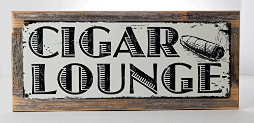 Framed Cigar Lounge Metal Sign mounted on Rustic, Weathered Wood (Weathered Metal Sign)