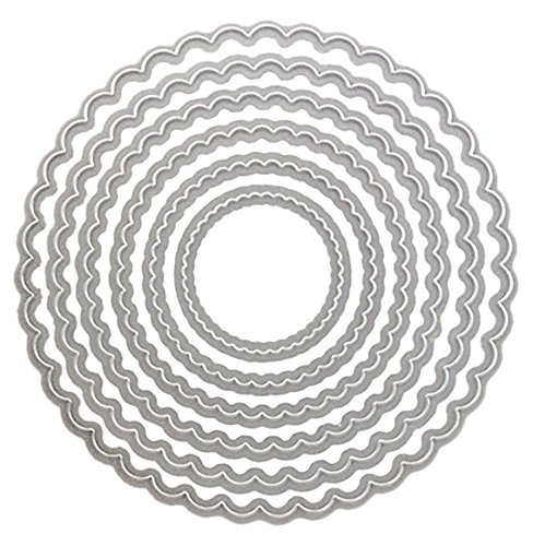 Cheery Lynn Designs L5 Circle Scalloped Silver Stackers Die Cut, Large - Scalloped Circles Dies