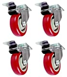 4 Pack Caster Wheels Swivel Plate Stem Brake Casters On Red Polyurethane Wheels (4 inch with brake)