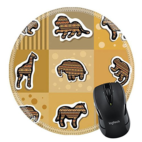MSD Natural Rubber Mousepad Round Mouse Pad/Mat: 27943155 Collection of different african stickers with animals Clip art ()