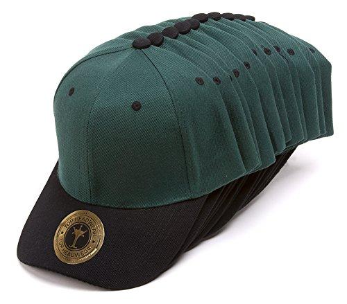(TopHeadwear 12-Pack Adjustable Baseball Hat - Forest Green/Black )