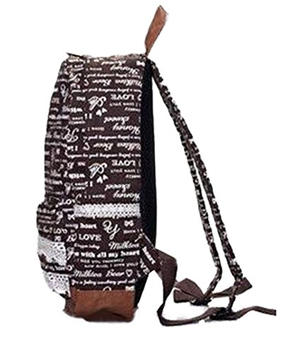Landiya Girl's Lace Graffiti Letters Travel Leisure Canvas Backpack for Student (Brown)
