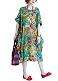 Romacci Women Cotton Linen Floral Long Maxi Baggy Dress Bat-Wing Sleeves Ethnic Casual Loose Dress with Pockets