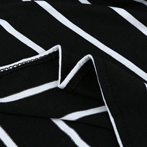Kanpola Des Femmes De Robe Longue Lâche, Rayé Trois Manches Quart Femme Partie De Plage Noir Longuette Occasionnel
