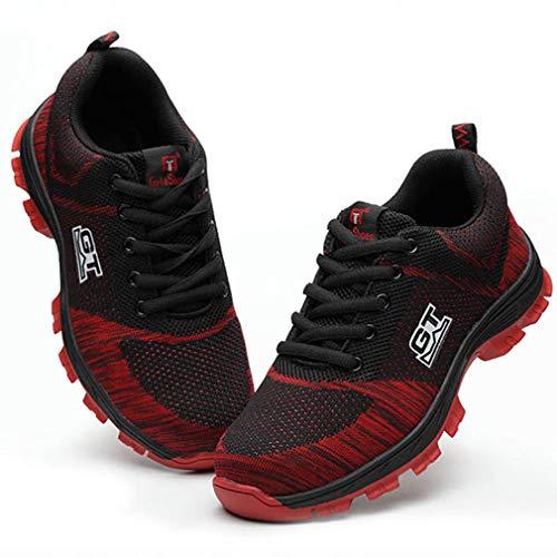 Homme Protection Femme Acier Rouge Chaussure En Sécurité De Hibote Chaussures Travail Semelle Embout Twt6cq1x