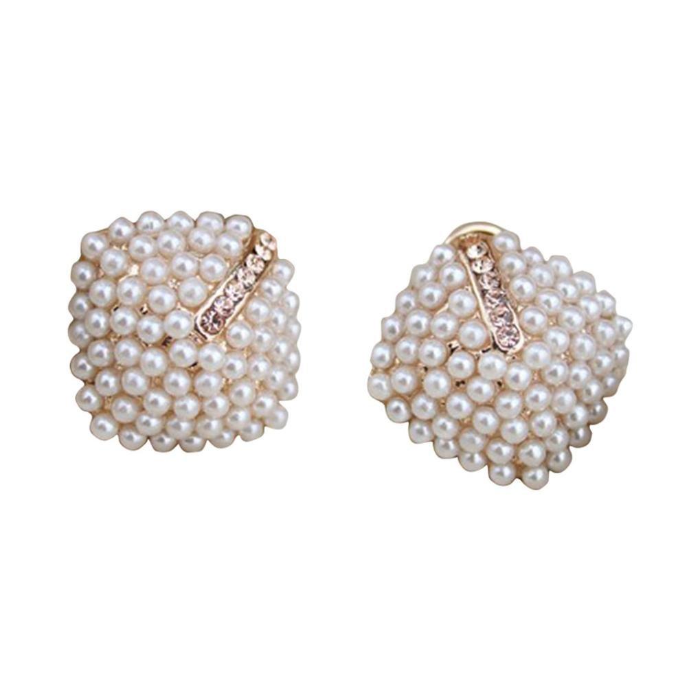 HIRIRI Hot Sale Fashion OL Style Women Pearl Rhombus Crystal Rhinestone Stud Earrings (White☸)