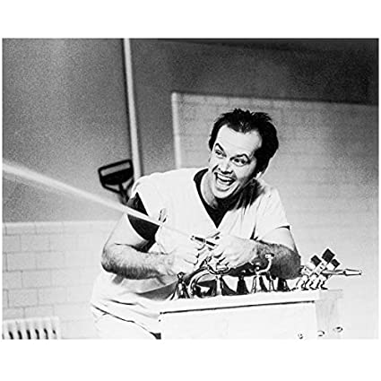 Jack Nicholson One Flew Over the Cuckoos Nest R.P. McMurphy Black and White 8 x 10 Photo at Amazons Entertainment Collectibles Store