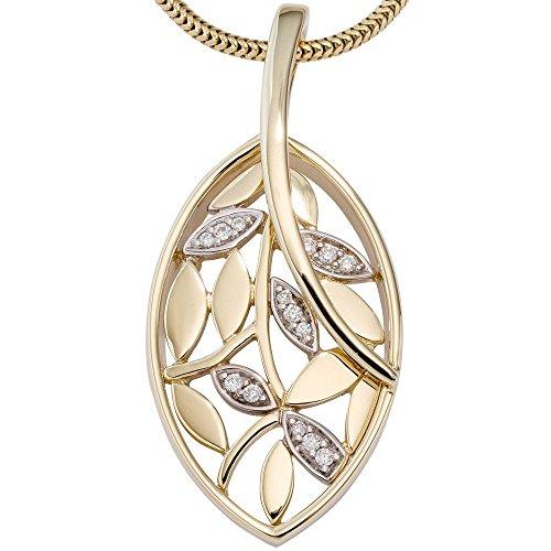 Pendentif en forme de feuilles de 14 diamants brillants or jaune 585 pour femme