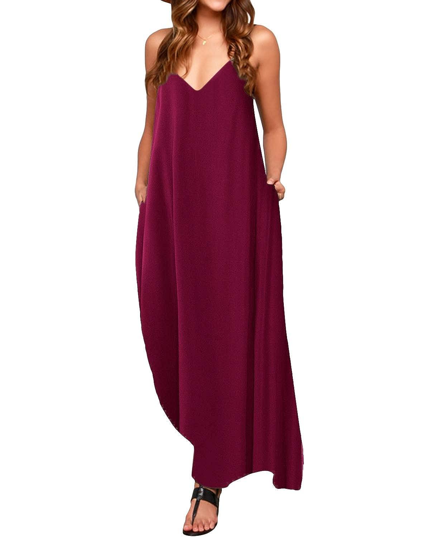 TALLA S. ACHIOOWA Mujer Vestido Elegante Casual Dress Cuello V Sin Manga Playa Tirantes Bolsillos Punto Falda Larga Rojo-vino