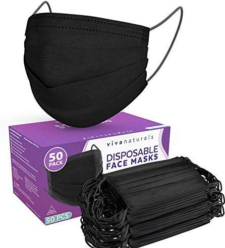 Black Adult Face Masks (50 Pack) - Premium 4-Ply Adult Masks, Black Face Mask Designed with Comfortable Earloops & Adjustable Metal Nose Strip, Non-Medical Disposable Black Mask for Home & Office Use